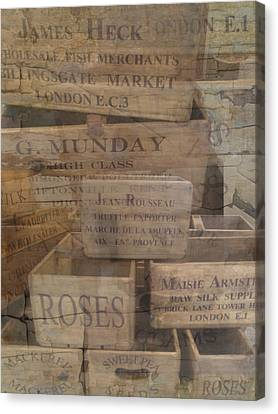 London Market Traders Crates Canvas Print by John Colley