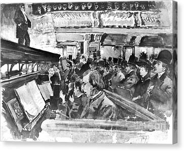 London Music Hall Orchestra Pit 1890 Canvas Print by Padre Art