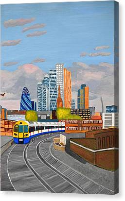 London Overland Train-hoxton Station Canvas Print