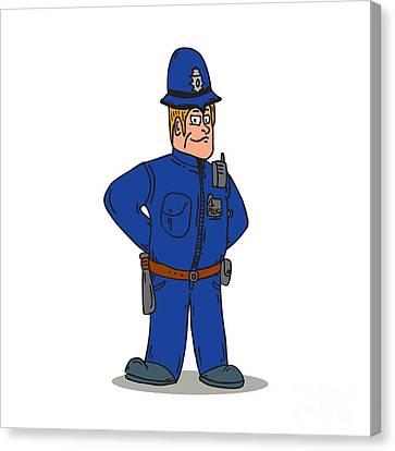 London Policeman Police Officer Cartoon Canvas Print by Aloysius Patrimonio