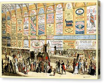 1874 Canvas Print - London Railway Station - Large by Charlie Ross