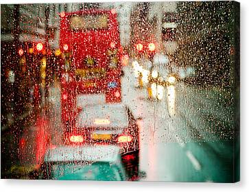 London Rain View To Red Bus Through Rainspecked Window Canvas Print