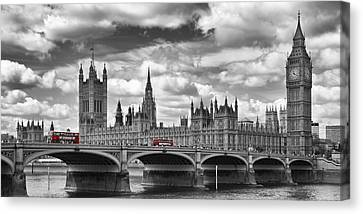 London River Thames And Red Buses On Westminster Bridge Canvas Print