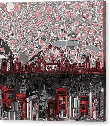 London City Map Canvas Print - London Skyline Abstract 6 by Bekim Art