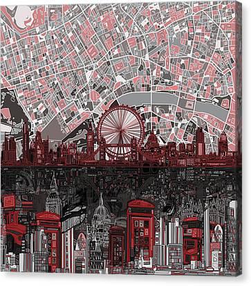 London Eye Canvas Print - London Skyline Abstract 6 by Bekim Art