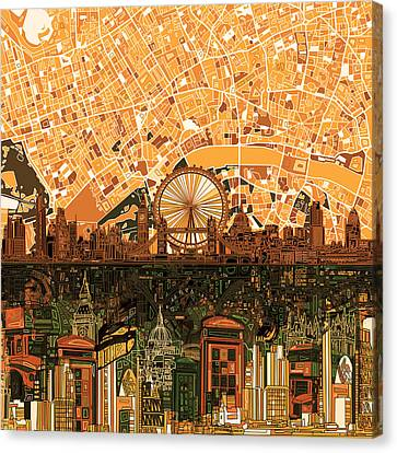 London City Map Canvas Print - London Skyline Abstract 7 by Bekim Art
