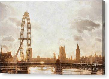 London Skyline At Dusk 01 Canvas Print by Pixel  Chimp