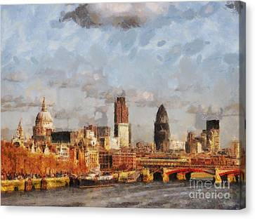 London Skyline From The River  Canvas Print by Pixel Chimp