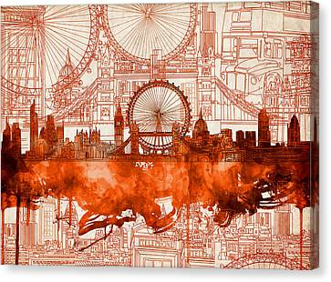 London Skyline Old Vintage 2 Canvas Print