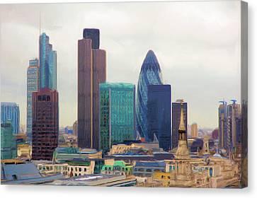 Canvas Print featuring the digital art London Skyline by Ron Harpham