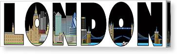London Skyline Text Outline Color Illustration Canvas Print by Jit Lim