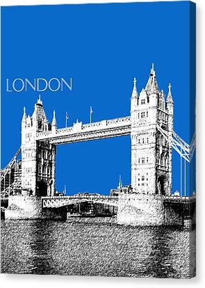 London Skyline Tower Bridge - Blue Canvas Print by DB Artist