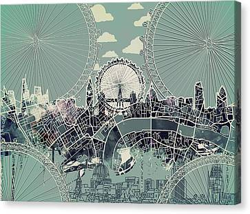 London Skyline Vintage Canvas Print