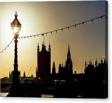 London South Bank Silhouette Canvas Print by Susan Schmitz