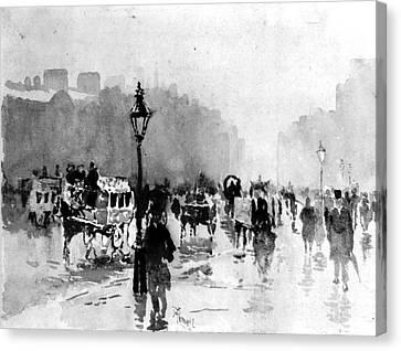 Foggy Day Canvas Print - London Street Scene 1885 by Padre Art