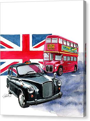 London Taxi And London Bus Canvas Print