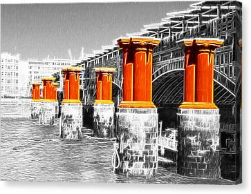 London Thames Bridges Fractals Canvas Print by David French