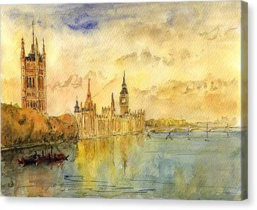 London Thames River Canvas Print by Juan  Bosco