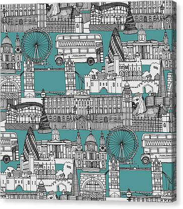 City Canvas Print - London Toile Blue by Sharon Turner