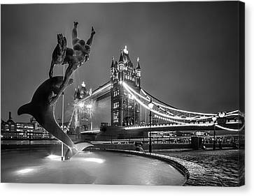 London Tower Bridge And Dolphin In Mono Canvas Print by Ian Hufton