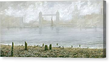 London Tower Bridge At Low Tide Canvas Print