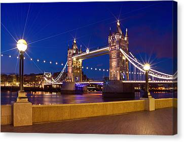 London Tower Bridge By Night Canvas Print by Melanie Viola