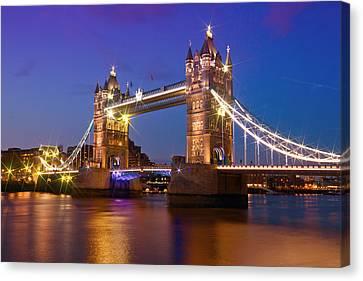 London - Tower Bridge During Blue Hour Canvas Print by Melanie Viola