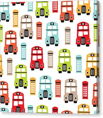 London Uk Double Decker Icon Of The Road Canvas Print by Maaike Boot