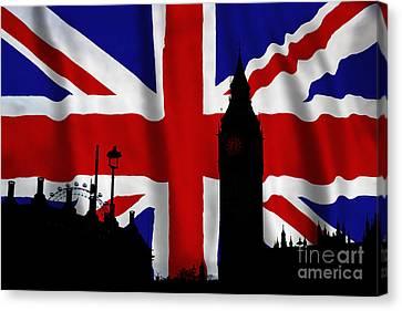 London Union Jack Montage Canvas Print by Tim Gainey