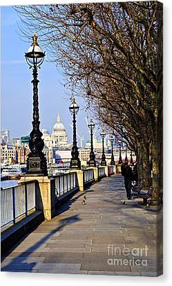London View From South Bank Canvas Print by Elena Elisseeva