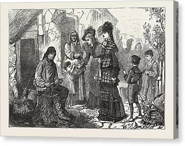 1876 Canvas Print - London Visitors At The Sea-side, Engraving 1876, Uk, Britain by H. Tuck, English School, 19th Century