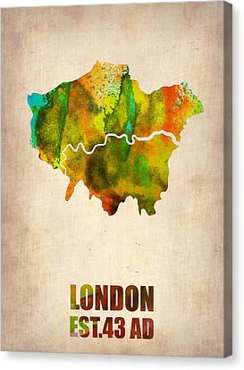 London City Map Canvas Print - London Watercolor Map 1 by Naxart Studio