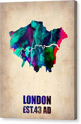 London City Map Canvas Print - London Watercolor Map 2 by Naxart Studio