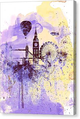 Downtown Canvas Print - London Watercolor Skyline by Naxart Studio