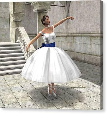 Canvas Print featuring the digital art Lone Ballet Dancer by Jayne Wilson