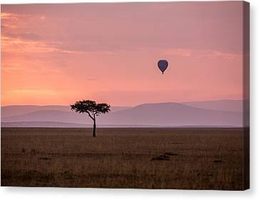Lone Balloon Over The Masai Mara Canvas Print