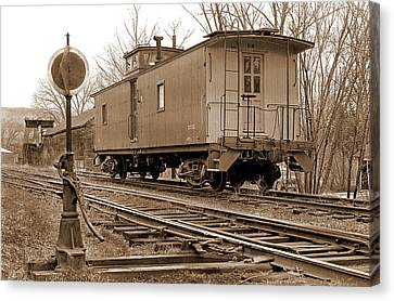Lone Caboose Canvas Print by Mike Flynn