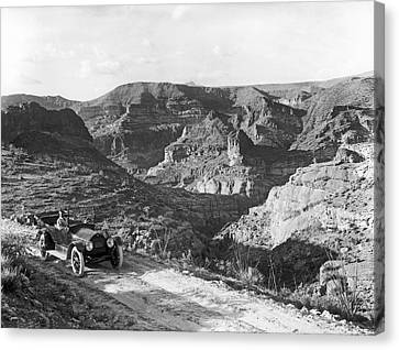 1916 Canvas Print - Lone Car In Fish Creek Canyon by Underwood Archives