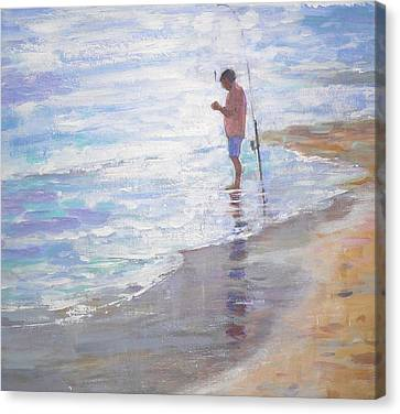 Lone Fisherman Canvas Print by Jackie Simmonds