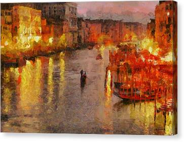 Canvas Print featuring the painting Lone Gondolier At Night by Kai Saarto