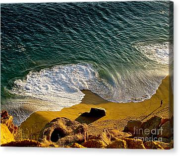Lone Hiker At Sunset On Secluded Beach At Cabo San Lucas Canvas Print by Sean Griffin