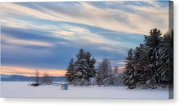 Maine Winter Canvas Print - Lone Icy Shanty by Darylann Leonard Photography