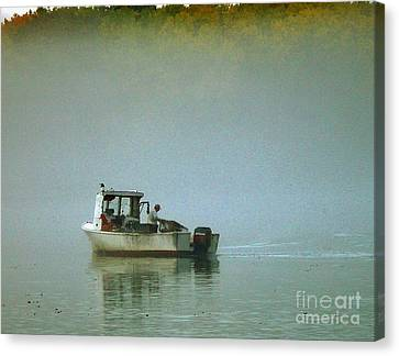 Canvas Print featuring the photograph Lone Lobsterman by Christopher Mace