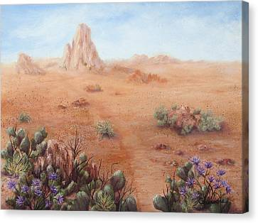 Canvas Print featuring the painting Lone Mesa by Roseann Gilmore