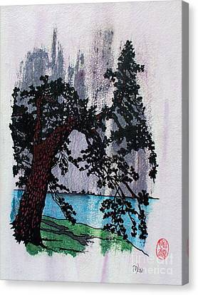 Lone Pine Tree In Summer Squall Canvas Print by Roberto Prusso