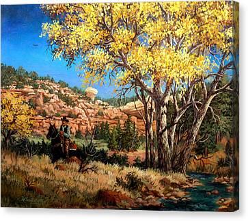 Lone Rider Canvas Print by W  Scott Fenton