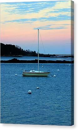 Lone Sailboat At York Maine Canvas Print by Denyse Duhaime