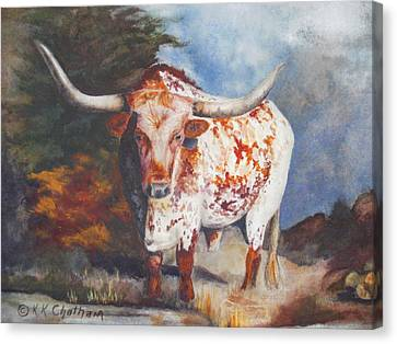 Canvas Print featuring the painting Lone Star Longhorn by Karen Kennedy Chatham