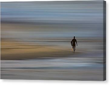 Canvas Print featuring the photograph Lone Surfing Walking A Surreal Shoreline by David Orias