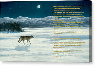 Lone Wolf In Winter   Version 1 Canvas Print by Steve Swavely